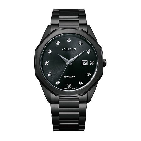 Citizen Corso Diamond Mens Black Stainless Steel Bracelet Watch - Bm7495-59g, One Size