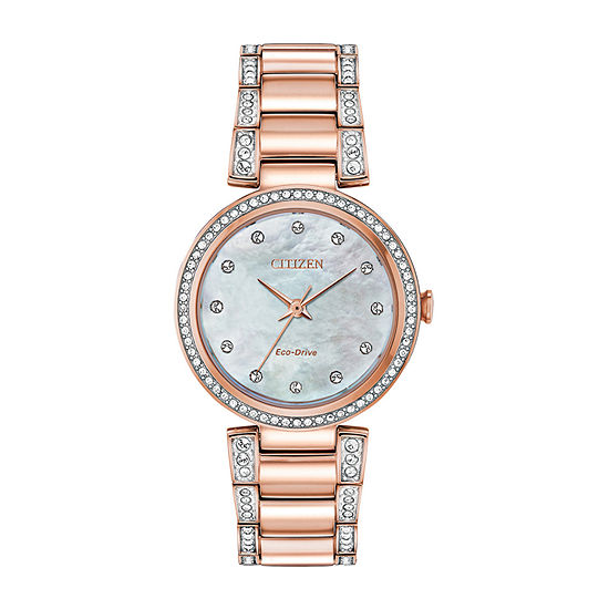 Citizen Crystal Womens Rose Goldtone Stainless Steel Bracelet Watch-Em0843-51d