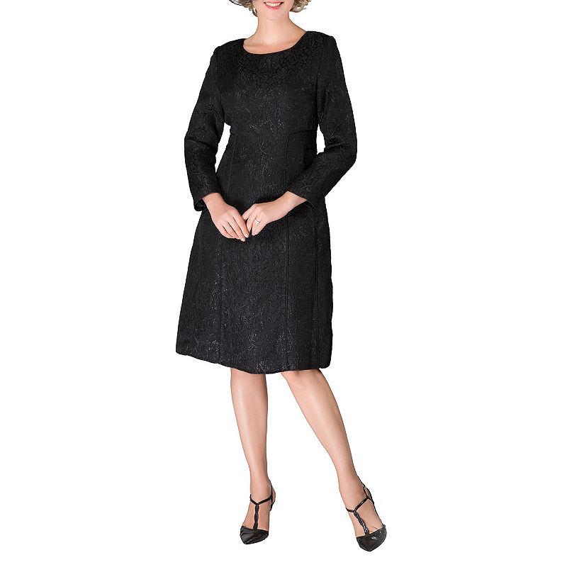 60s 70s Plus Size Dresses, Clothing, Costumes Giovanna Signature Long Sleeve Brocade A-Line Dress-Plus $110.00 AT vintagedancer.com