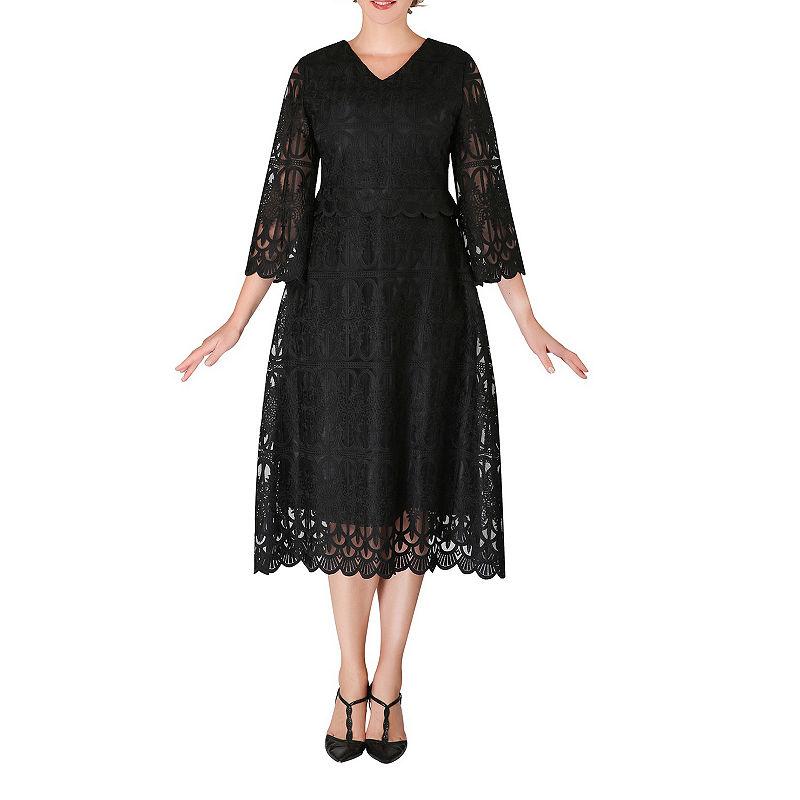 1920s Plus Size Flapper Dresses, Gatsby Dresses, Flapper Costumes Giovanna Signature 34 Sleeve Midi A-Line Dress-Plus $120.00 AT vintagedancer.com