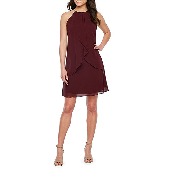 S. L. Fashions Sleeveless Beaded Neckline Shift Dress
