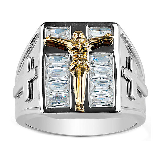 Mens White Cubic Zirconia Sterling Silver Cross Fashion Ring