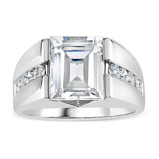 Mens Simulated White Sapphire Sterling Silver Square Fashion Ring