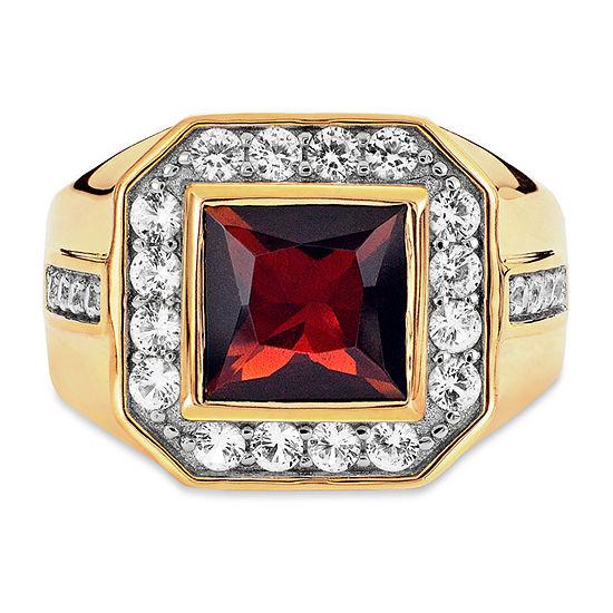 Mens Genuine Red Garnet 14K Gold Over Silver Square Fashion Ring