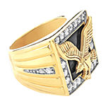 Mens Genuine Black Onyx 10K Gold Over Silver Fashion Ring