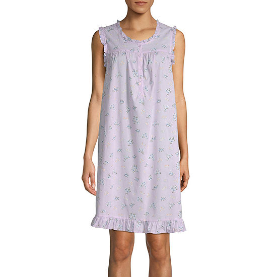Adonna Womens Poplin Sleeveless Nightgown