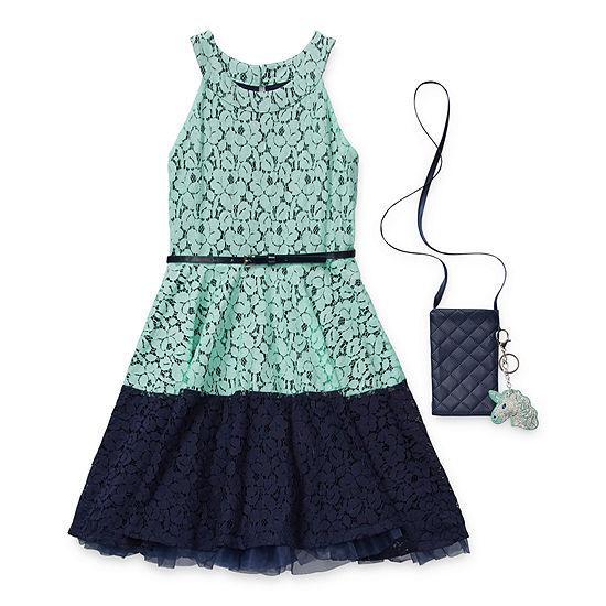 Knit Works Little & Big Girls Belted Sleeveless Skater Dress