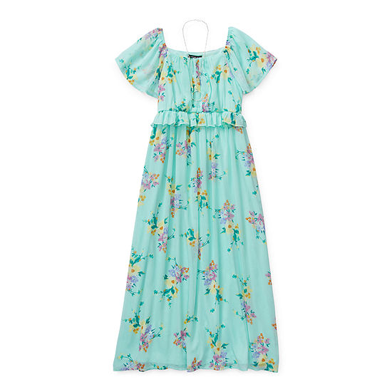 My Michelle Girls Short Sleeve Flutter Sleeve Floral Maxi Dress - Preschool / Big Kid