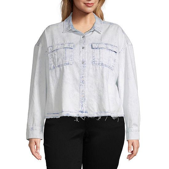 Arizona-Juniors Plus Womens Long Sleeve Regular Fit Button-Front Shirt