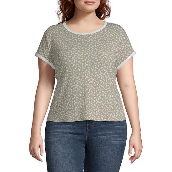 Arizona Juniors Plus-Womens Crew Neck Short Sleeve T-Shirt