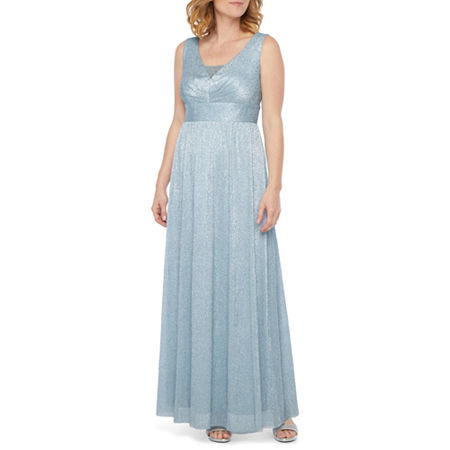 80s Dress Styles | Party, Prom, Formal Scarlett Sleeveless Embellished Evening Gown 12  Blue $35.99 AT vintagedancer.com