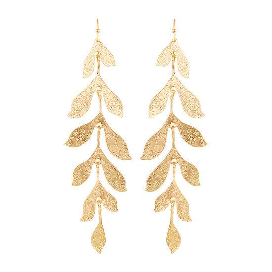 Bijoux Bar Metal Leaves Drop Earrings