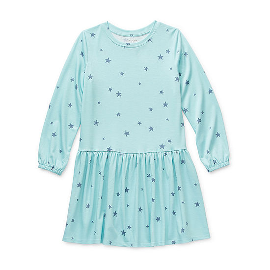 Arizona Little & Big Girls Long Sleeve Drop Waist Dress