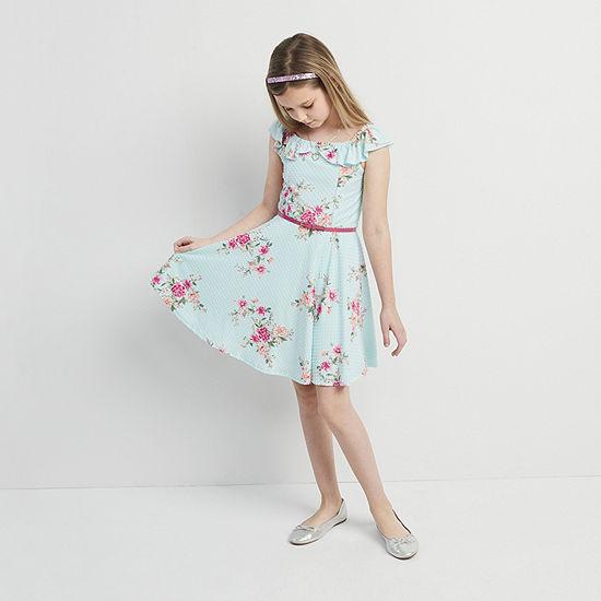 Knit Works Little & Big Girls Belted Sleeveless Fit & Flare Dress