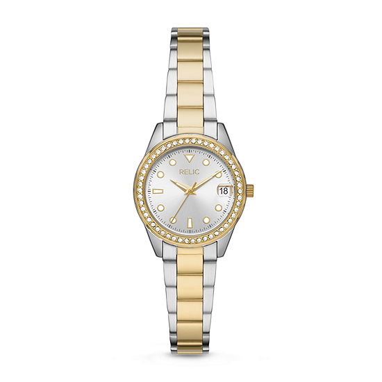 Relic By Fossil Tabitha Unisex Adult Crystal Accent Two Tone Stainless Steel Bracelet Watch - Zr12630