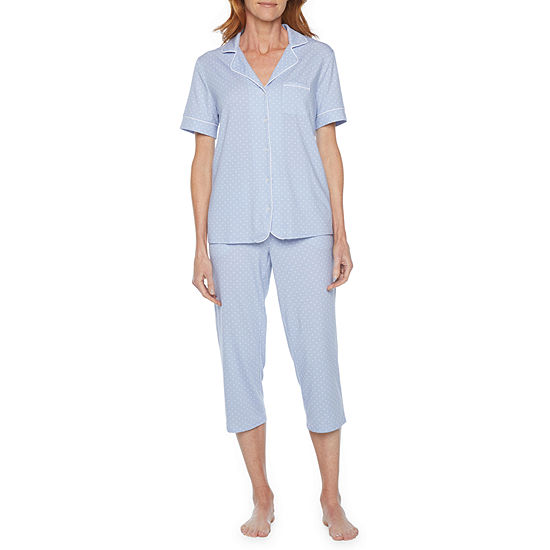 Liz Claiborne Womens Pant Pajama Set 2-pc. Short Sleeve