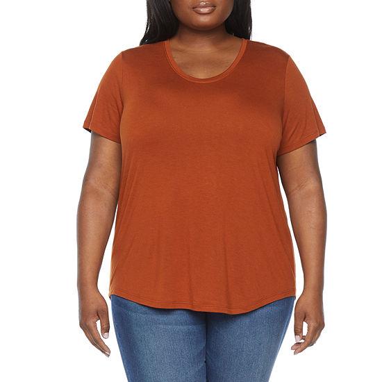 a.n.a Plus Womens Scoop Neck Short Sleeve T-Shirt