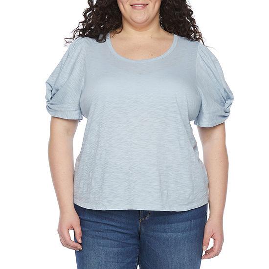 a.n.a Womens Plus Crew Neck Short Sleeve T-Shirt