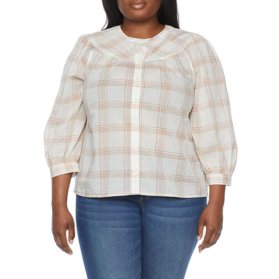 a.n.a-Plus Womens 3/4 Sleeve Regular Fit Button-Down Shirt