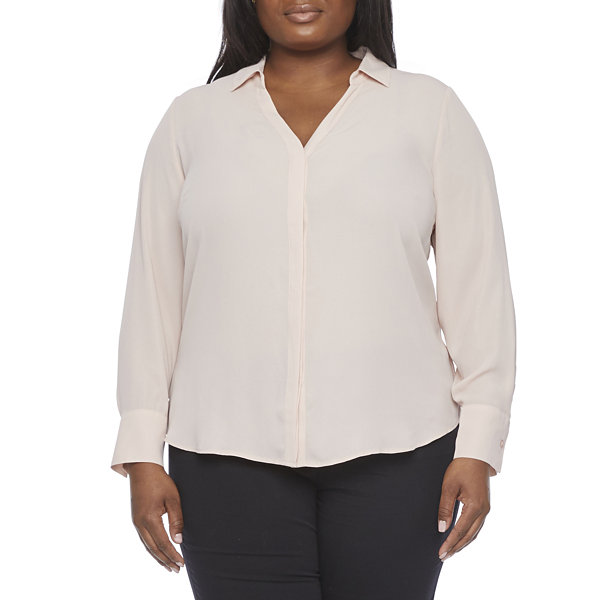 Worthington Womens Soft Blouse - Plus