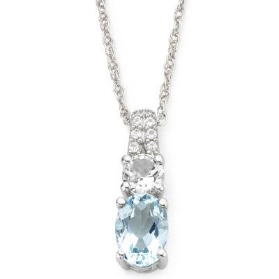 Simulated Aquamarine & White Sapphire Pendant Necklace