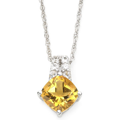 Sterling Silver Genuine Citrine & Lab-Created White Sapphire Pendant Necklace