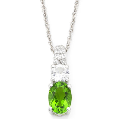 Simulated Peridot & White Sapphire Pendant Sterling Silver Necklace