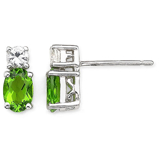 Simulated Peridot & White Sapphire Stud Earrings Sterling Silver