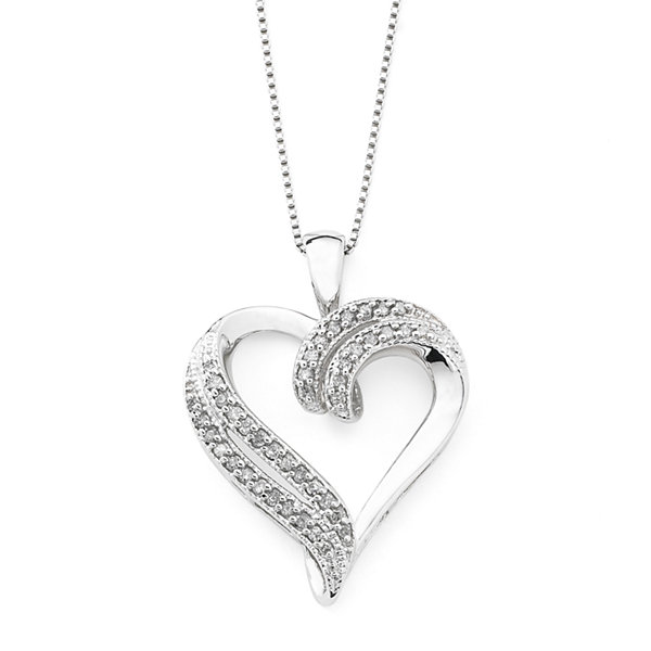 14 ct tw diamond heart pendant sterling silver tw diamond heart pendant necklace sterling silver mozeypictures Images