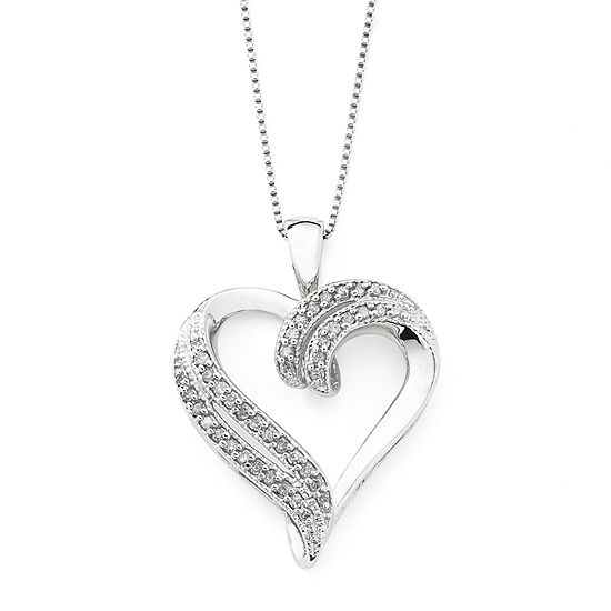 3dfed4ba704fb 1 4 CT TW Diamond Heart Pendant Sterling Silver
