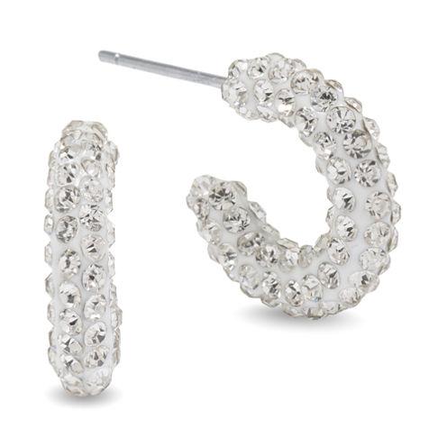 Silver Treasures White Hoop Earrings