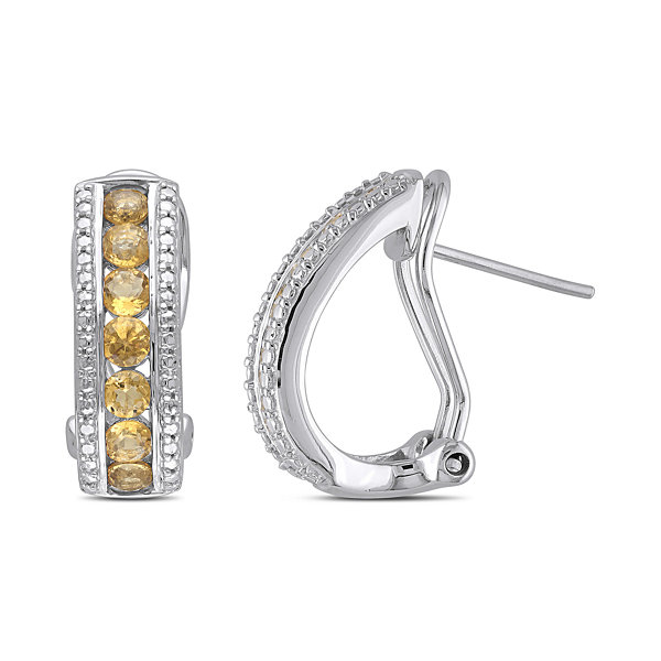 Genuine Citrine Sterling Silver Hoop Earrings