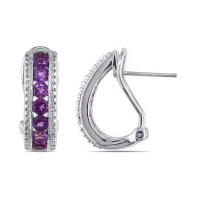Genuine Amethyst Sterling Silver Hoop Earrings