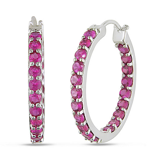 16511f8a6c097 Lab-Created Ruby Sterling Silver Inside-Out Hoop Earrings