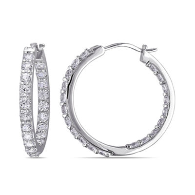 Lab-Created White Sapphire Sterling Silver Inside-Out Hoop Earrings