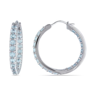 Genuine Aquamarine Sterling Silver Inside-Out Hoop Earrings