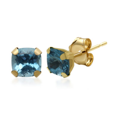 Genuine Blue Topaz 10K Yellow Gold Stud Earrings