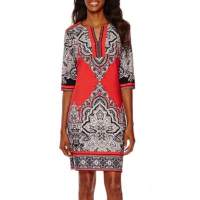Studio 1® Elbow-Sleeve Paisley Print Shift Dress