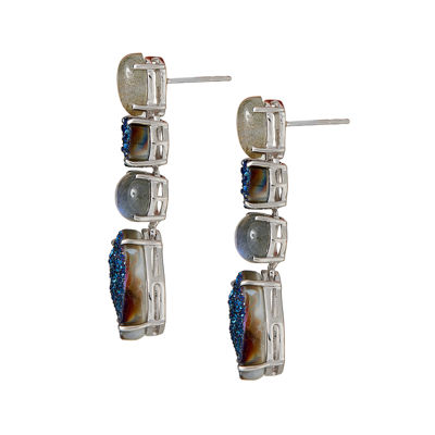 LIMITED QUANTITIES  Genuine Labradorite and Quartz Sterling Silver Drop Earrings