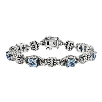 Shey Couture Swiss Blue Topaz Sterling Silver and 14K Gold Accent Bracelet