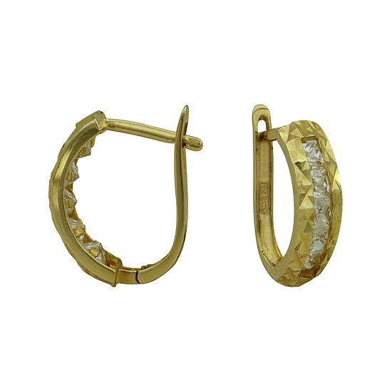 Petite Lux™ Cubic Zirconia Textured Hoop Earrings