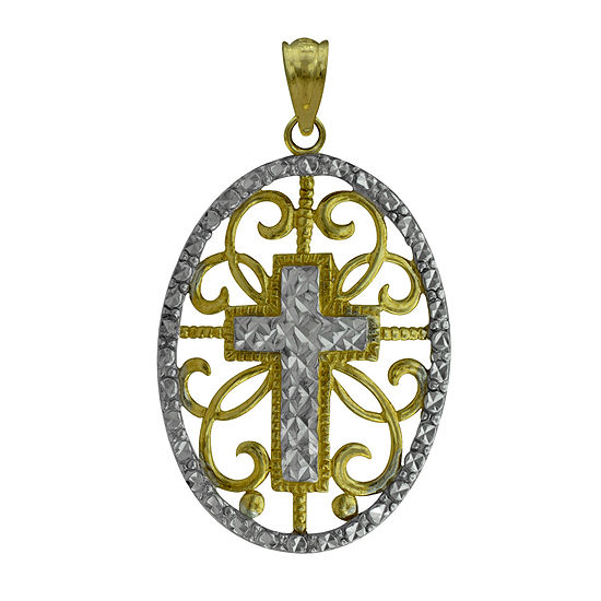 10K Two-Tone Gold Round Cross Charm Pendant
