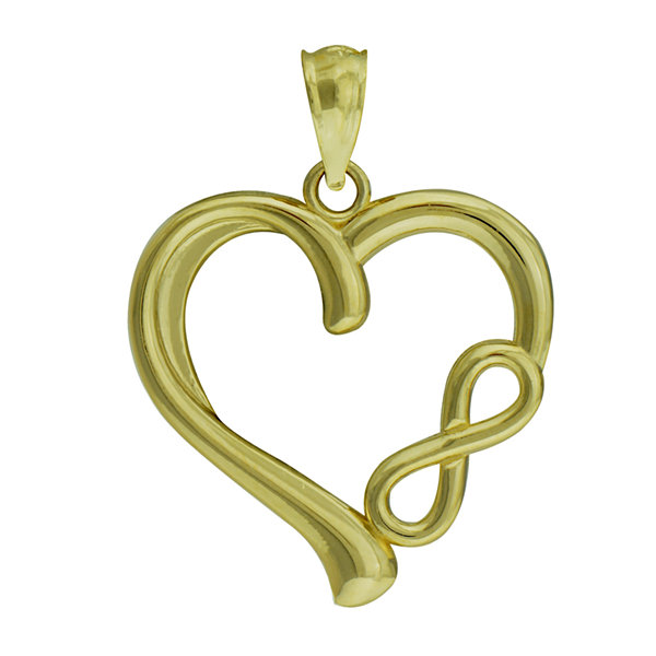 10K Yellow Gold Infinity Heart Charm Pendant