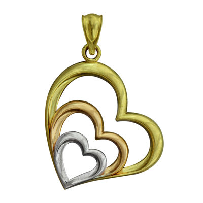10K Tri-Color Gold Triple Heart Charm Pendant