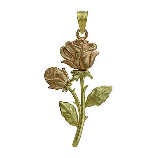10K Two-Tone Gold Rose Charm Pendant