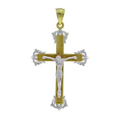 10K Two-Tone Gold Crucifix Cross Charm Pendant
