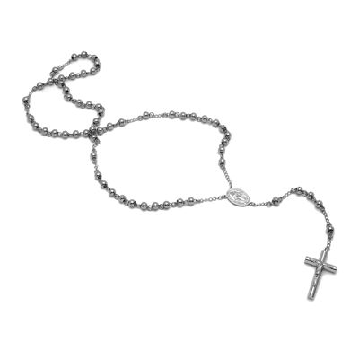 """Mens Stainless Steel 36"""" Rosary Crucifix Pendant Necklace"""