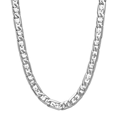 "Mens Stainless Steel Cross 24"" Link Necklace"