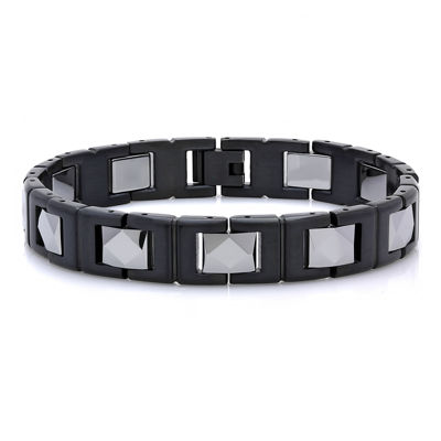 Mens Two-Tone Black IP Stainless Steel with Tungsten Chain Bracelet