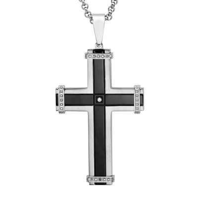 Mens 1/7 CT. T.W. Diamond Two-Tone Stainless Steel and Black IP Cross Pendant Necklace